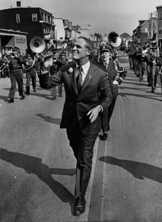 FROM MERLIN ARCHIVE, DON NOT RESEND TO LIBRARY Mayor Kevin White walks down East Broadway St. South Boston at the St. Patricksw Day Parade, March 16, 1975 Library Tag 03142010 Metro
