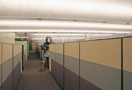 Baffle, knight in a cubicle, brainiac illustration