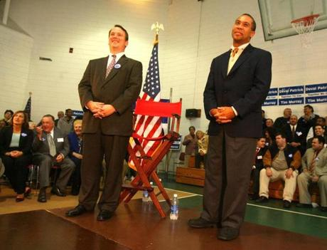In the last days of Deval Patrick's and Timothy P. Murray's first campaign, Michael E. McLaughlin turned out many of the 300 people who attended a rally at an Everett elementary school. McLaughlin provided buses to take Chelsea public housing tenants to the event.