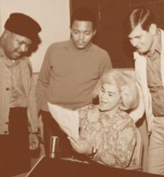 Etta James during a recording session in Alabama with Bow Legs Miller (left) and producer Rick Hall (right), who owned the legendary FAMEStudios in Muscle Shoales.