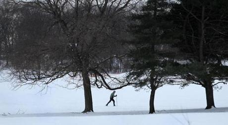 Pete Fraunholtz of Jamaica Plain got in about 50 minutes of cross-country skiing through the golf course in Franklin Park.