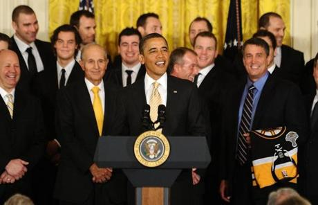 Obama joked about the Bruins adding to Boston's many recent championships.