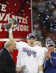 Eli Manning was named Super Bowl MVP.