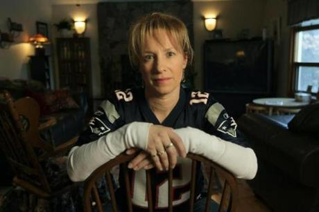 Troy, NH - 1-24-12 - Jodi Lloyd (cq) at her home. Her husband Steven's hands have been used in a double-handed transplant last fall at Brigham and Woman's Hospital. (Globe staff photo / Bill Greene) section:H&S, topic: 02hand