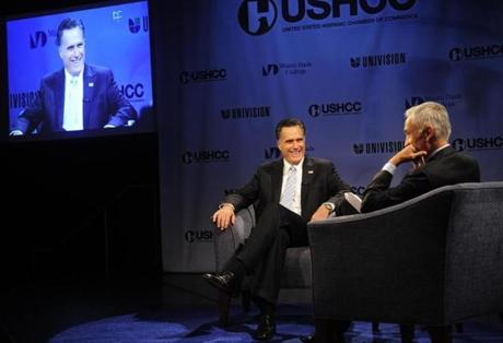 Mitt Romney appeared on Univision  yesterday in Miami.