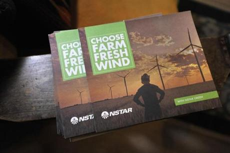 A brochure on NSTAR renewable energy programs that Ed Loechler packed for a walk through his neighborhood in Brookline. Despite publicity, utility companies have seen little participation in their renewable energy programs. JOSH REYNOLDS FOR THE BOSTON GLOBE (Science, Able)