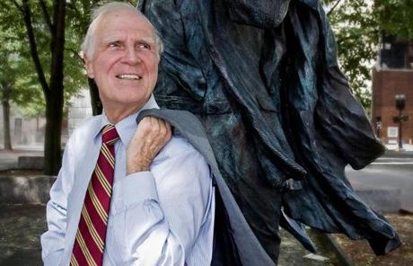 Former mayor of Boston Kevin White, poses with his statue located at Faneuil Hall Market area. **Photo taken 2008 Globe photo Bill Brett *** More caption info to follow.