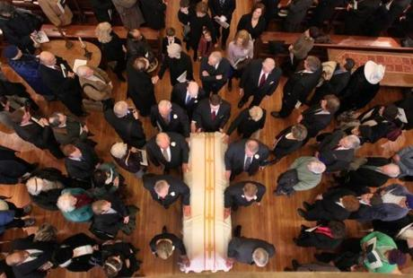 A funeral Mass was held at Saint Cecilia Church for former Boston Mayor Kevin White. Feb. 1, 2012.
