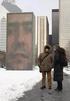 "Greeter Larry Ambrose with the author in Millennium Park near ""Crown Fountain."""