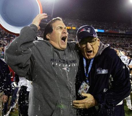 ** FILE ** New England Patriots head coach Bill Belichick reacts after being doused after the Patriots beat the Philadelphia Eagles 24-21 in Super Bowl XXXIX in this Feb. 6, 2005 file photo at Alltel Stadium in Jacksonville, Fla. At right is Belichick's father, Steve. Steve Belichick died Saturday night, Nov. 19, 2005 of heart failure. He was 86. (AP Photo/David J. Phillip)