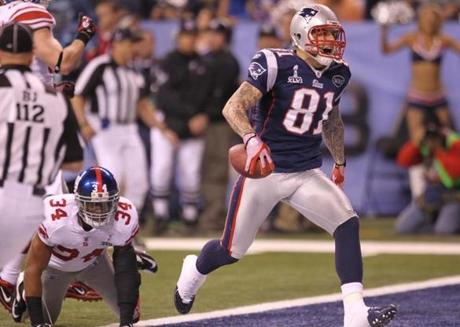Tight end Aaron Hernandez scored after catching a pass on the Patriots' first drive of the second half.