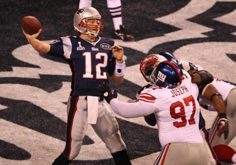 Tom Brady threw a pass from the end zone in the first quarter, and would be called for intentional grounding on the play, giving the Giants a 2-0 lead.