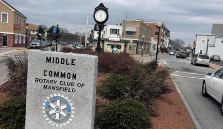 Mansfield, MA 02/07/12. MANSFIELD business district and center here . The TriTown Chamber of Commerce ( which includes Mansfield) was addressed at a morning breakfast today in Foxboro by Dr. John R. Mullin , Professor of Regional Planning, Director of the Center for Economic Development, and Dean of the Graduate School at UMass, Amherst. He spoke to them about development along rte 495 . He is currently advising Mansfield about their development. (George Rizer for the Boston Globe)