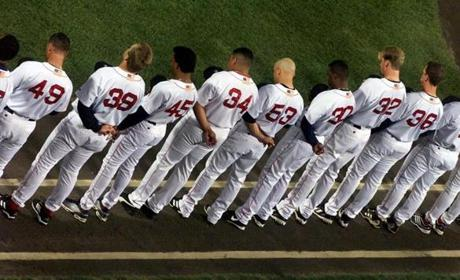 The Red Sox paused for a pregame moment of silence.