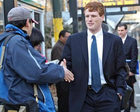 Joseph Kennedy III officially launched his campaign for Congress in February, greeting commuters and supporters in Newton.