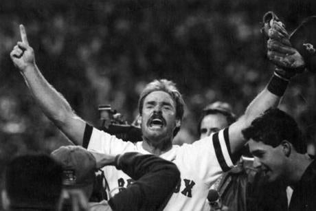A jubilant Red Sox third baseman Wade Boggs celebrated after the Red Sox clinched the American League East with a victory over the Chicago White Sox in 1990.