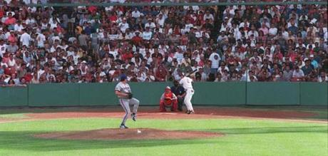 Clemens delivered the first pitch to Red Sox leadoff hitter Nomar Garciaparra.