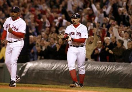 Jason Varitek's hustle to prevent a double play allowed what turned into the winning run to score in the sevenfh inning.