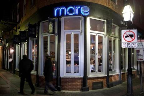 An exterior view of Mare Oyster Bar in Boston's North End neighborhood.