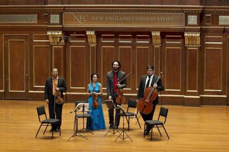 The Harlem Quartet greeted the audience before performing at Jordan Hall in Boston on Feb. 16, 2012.