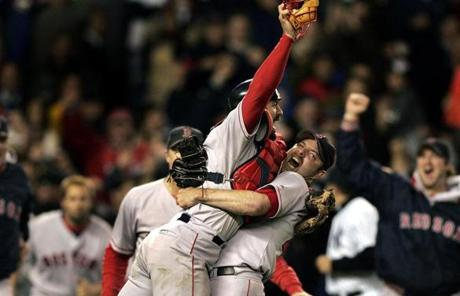 Varitek was on the field when the Red Sox completed their historic four-game comeback against the Yankees in the 2004 ALCS.