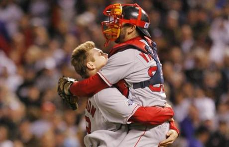 Six months later, Varitek and Jonathan Papelbon celebrated the Red Sox' second World Series title in four years.