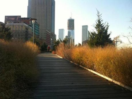A boardwalk surrounded by tall beach grass with dramatic skyscraper views.