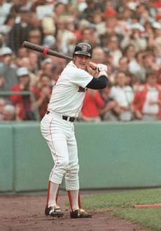 Carl Yastrzemski webt 0-for-4 on the day of his ceremony.