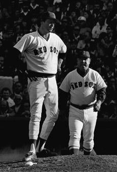 Red Sox manager Don Zimmer lifted starter Mike Torrez after Dent's home run.