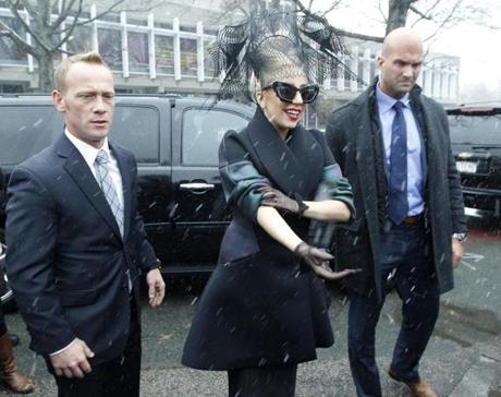 Lady Gaga walked through campus on her way to the event.