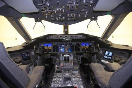 The cockpit of the 787 Dreamliner. The lightweight plane relies more on electric power than most other jets.