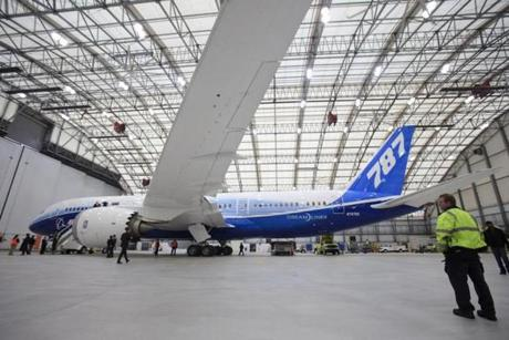 Boeing's 787 made its Boston debut in March 2012. Above, the jet in a Logan hangar.