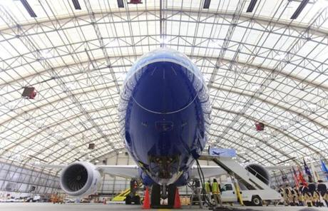 Boeing's new 787 Dreamliner made its Boston debut on Sunday in the Delta Hangar at Logan  Airplort.