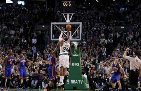 Pierce hit a three-pointer, tied the game at 103-103, and left 4.9 seconds on the clock to send Sunday's game into overtime.