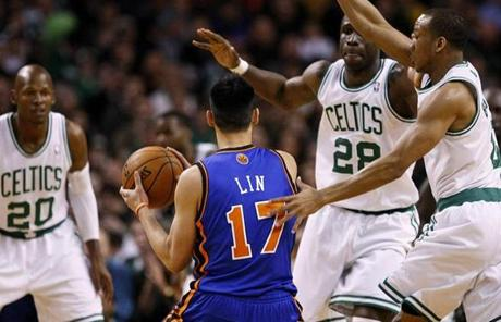 Lin was swarmed by Celtics defenders Avery Bradley, Mickael Pietrus and Ray Allen. Lin turned the ball over six times.
