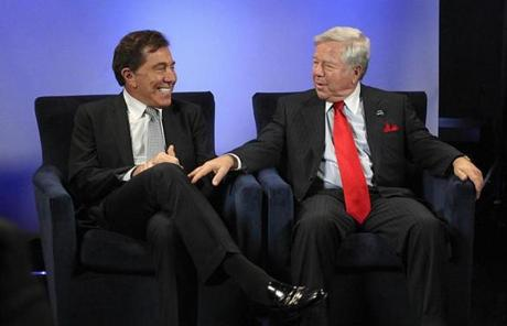 Robert Kraft and Steve Wynn talked about the casino plan in a studio at the Patriots complex late last year.