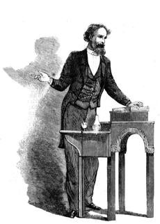 This drawing of Dickens on his second American tour appeared in Harper's Magazine in 1868.
