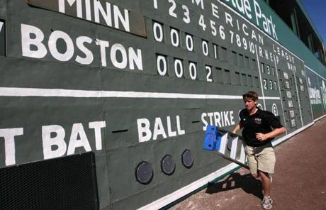 Like the original Green Monster, this one has a hand-operated scoreboard that once actually fronted the wall in Boston.