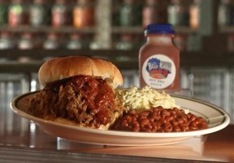 Pulled pork sandwich with coleslaw and barbecue sauce from Blue Ribbon Bar- B- Q in Newton.