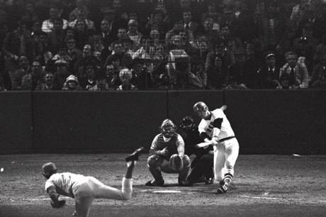 Carlton Fisk blasted a game-ending home run in the 12th inning to clinch a Game 6 win against the Reds.