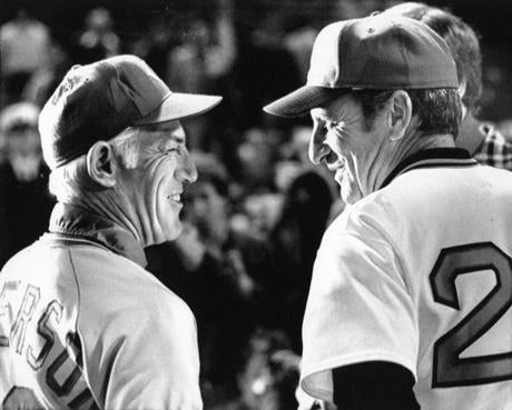 Managers Sparky Anderson of Cincinnati, left, and Darrell Johnson of Boston met on the field prior to the final game of the World Series.