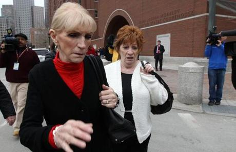 The sisters of alleged Bulger rivals and victims Donald and Paul McGonagle left the courthouse.