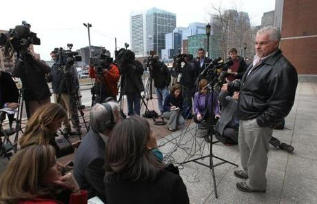 Steven Davis spoke to the media outside the courthouse.