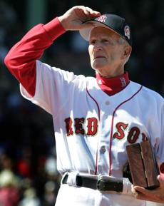 Red Sox legend Johnny Pesky saluted the crowd after receiving his ring.