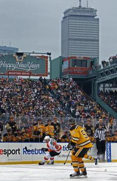 The Prudential Center, which looms over Red Sox games in the summer, presided high above the Bruins and Flyers.