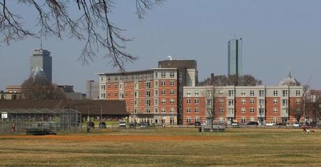South Boston, MA., 03/20/12, The Homes at Old Colony had a ribbon cutting and grand opening ceremony today. View of new building with Boston in background. Section: Metro, Reporter: Billy Baker Globe staff/Suzanne Kreiter