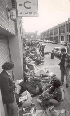 Fans like Andy Harp lined up outside Fenway Park on Oct. 8, 1975 to buy tickets to the World Series.