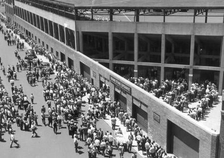 Fans lined up outside Fenway Park to get in for this July 17, 1946, game against the White Sox.