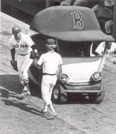 The bullpen car was a familiar feature at Fenway Park in the 197
