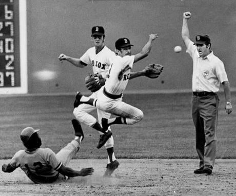 Luis Aparicio tossed to first to turn this double play on Sept. 27, 1972.